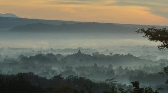 sunrise on hill - borobudur morning - prambanan temple